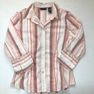 New York & Company Pink White Button Down Small
